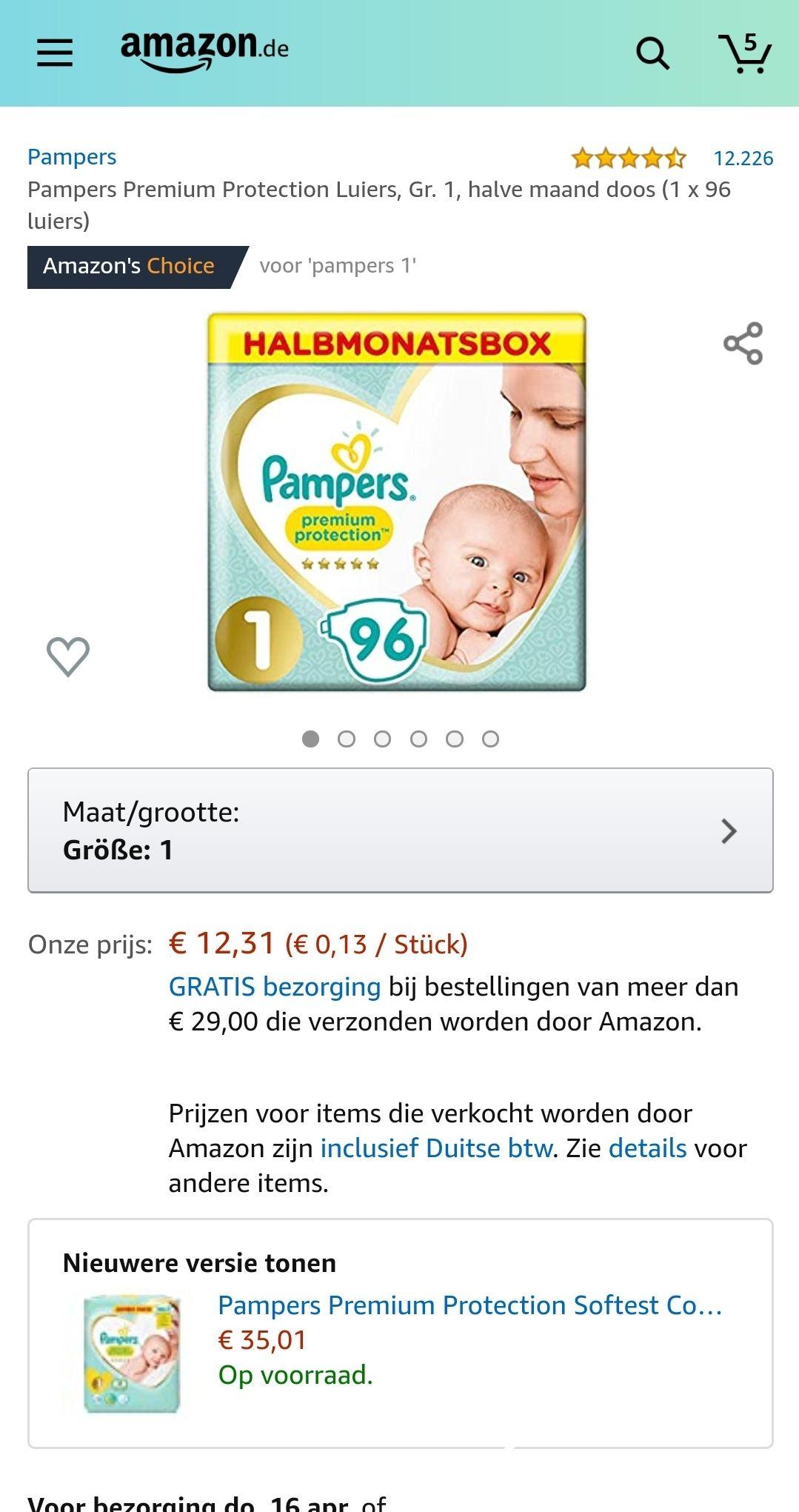 Pampers Premium Protection Luiers - maat 1 - 96 luiers @ Amazon.de