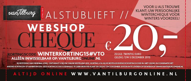 €20 korting boven €100 bij Van Tilburg