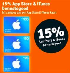 15% EXTRA tegoed op je App Store en iTunes giftcard @Kruidvat