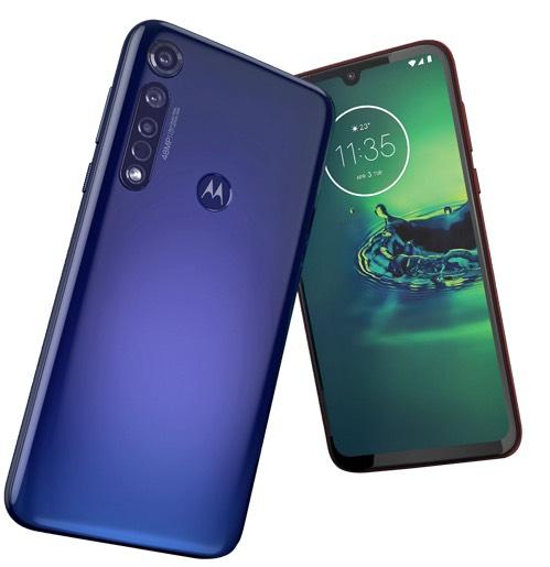Motorola G8 plus blauw en rood