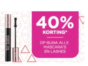 40% korting op bijna alle mascara's (ook sets) en lashes