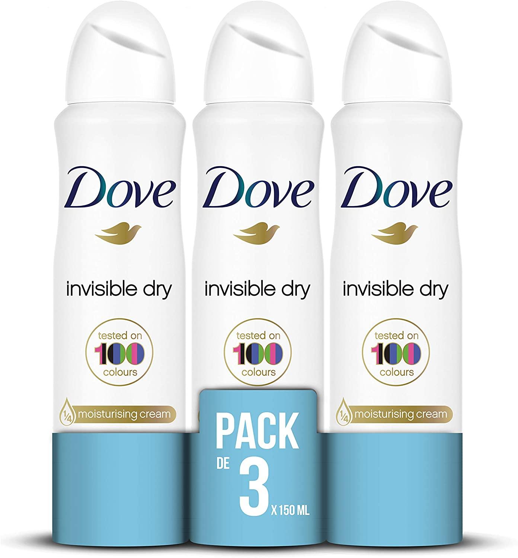 Dove Invisible Dry deodorant (3x150ml) voor €2,46 @ Amazon.nl