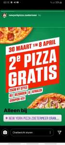 [LOKAAL] 2e Pizza gratis @ New York Pizza Zoetermeer