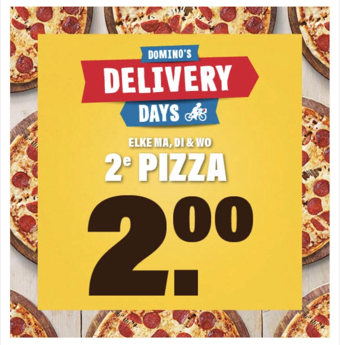 Domino's: Elke maandag t/m woensdag: 2e pizza €2,- bij bezorgen!