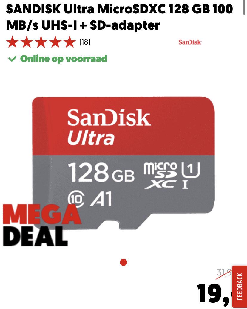SANDISK Ultra MicroSDXC 128 GB 100 MB/s UHS-I + SD-adapter