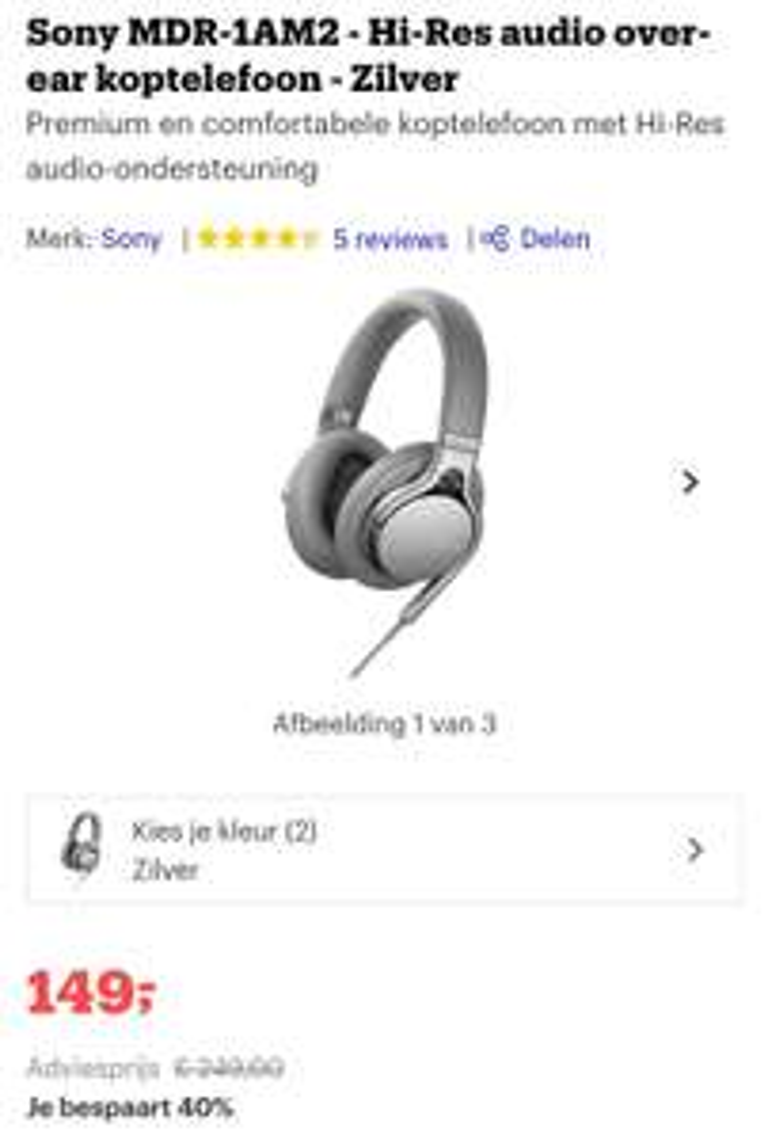 Sony MDR-1AM2 - Hi-Res audio over-ear koptelefoon - Zilver