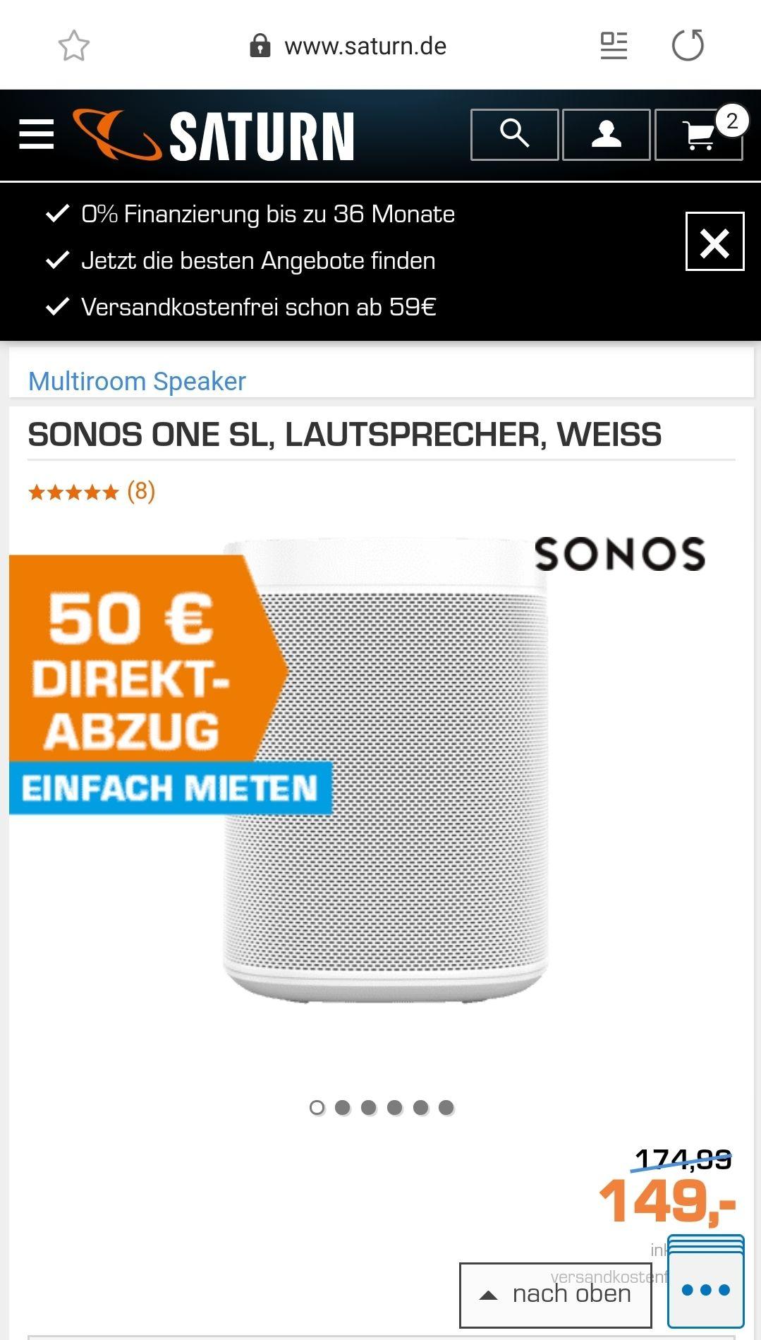 {Grensdeal} Sonos One SL €89 @ Saturn Duitsland