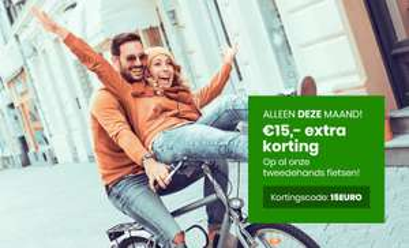 €15,- korting op een tweedehands fiets