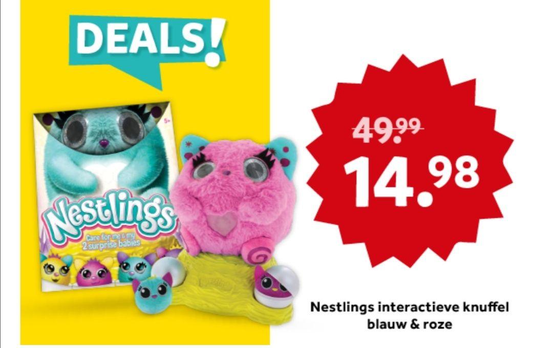 Nestlings interactieve knuffel blauw en roze @ Intertoys