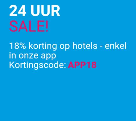 Alleen vandaag 18% korting op hotels @ Ebookers App