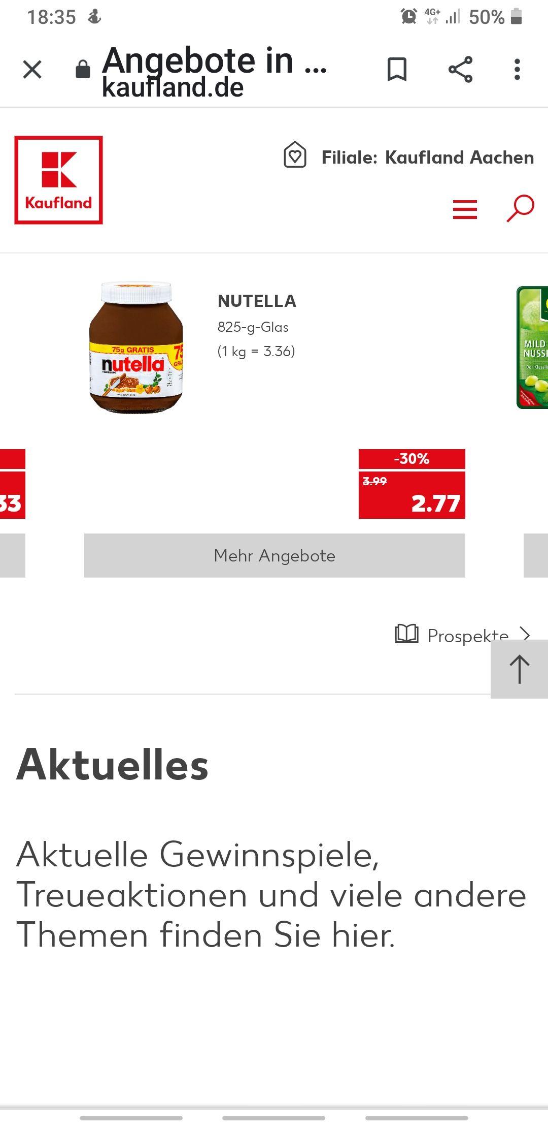 Grensdeal Duitsland Nutella 825 gram