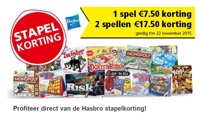 Stapelkorting op Hasbro spellen @ Intertoys