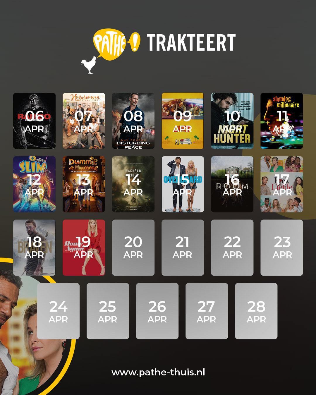 Pathé komt vanaf 6 april dagelijks met een gratis film