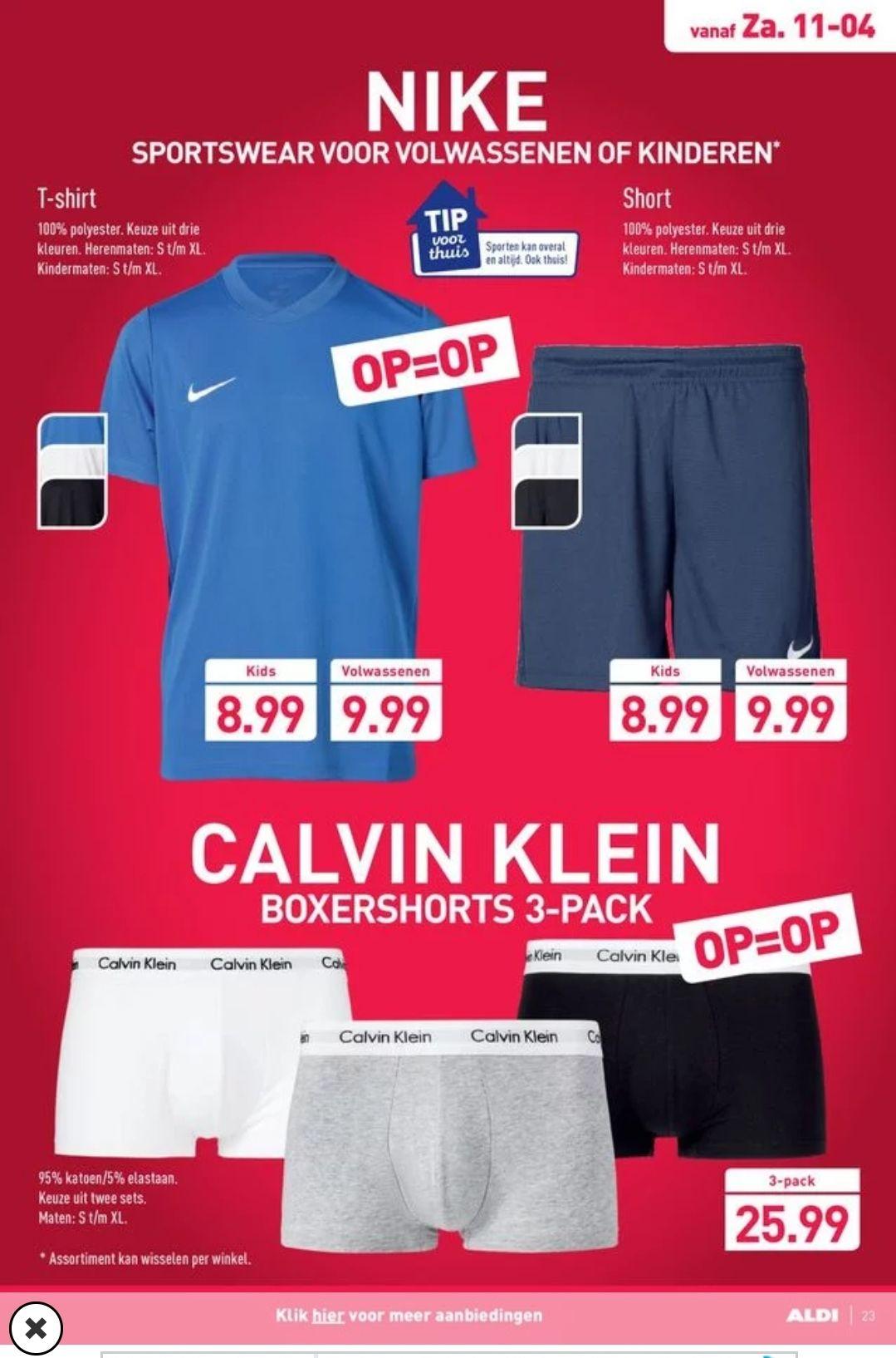 Nike t-shirt en short 9.99 ps, Calvin Klein 3 pack 25.99