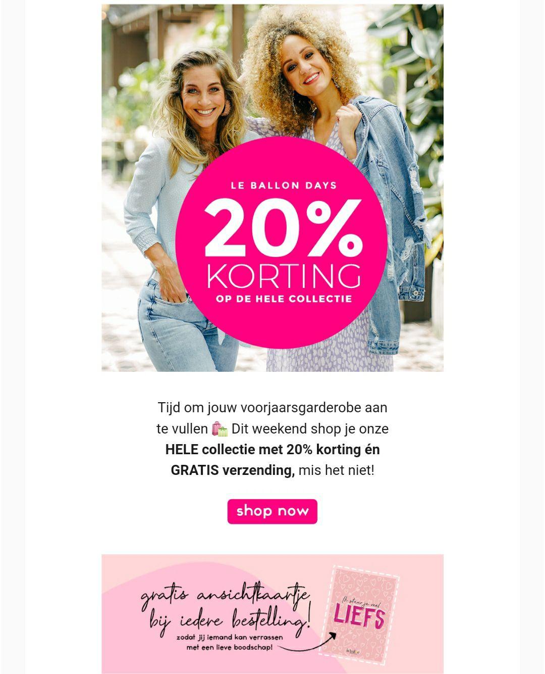 20% korting bij Le ballon & Invito