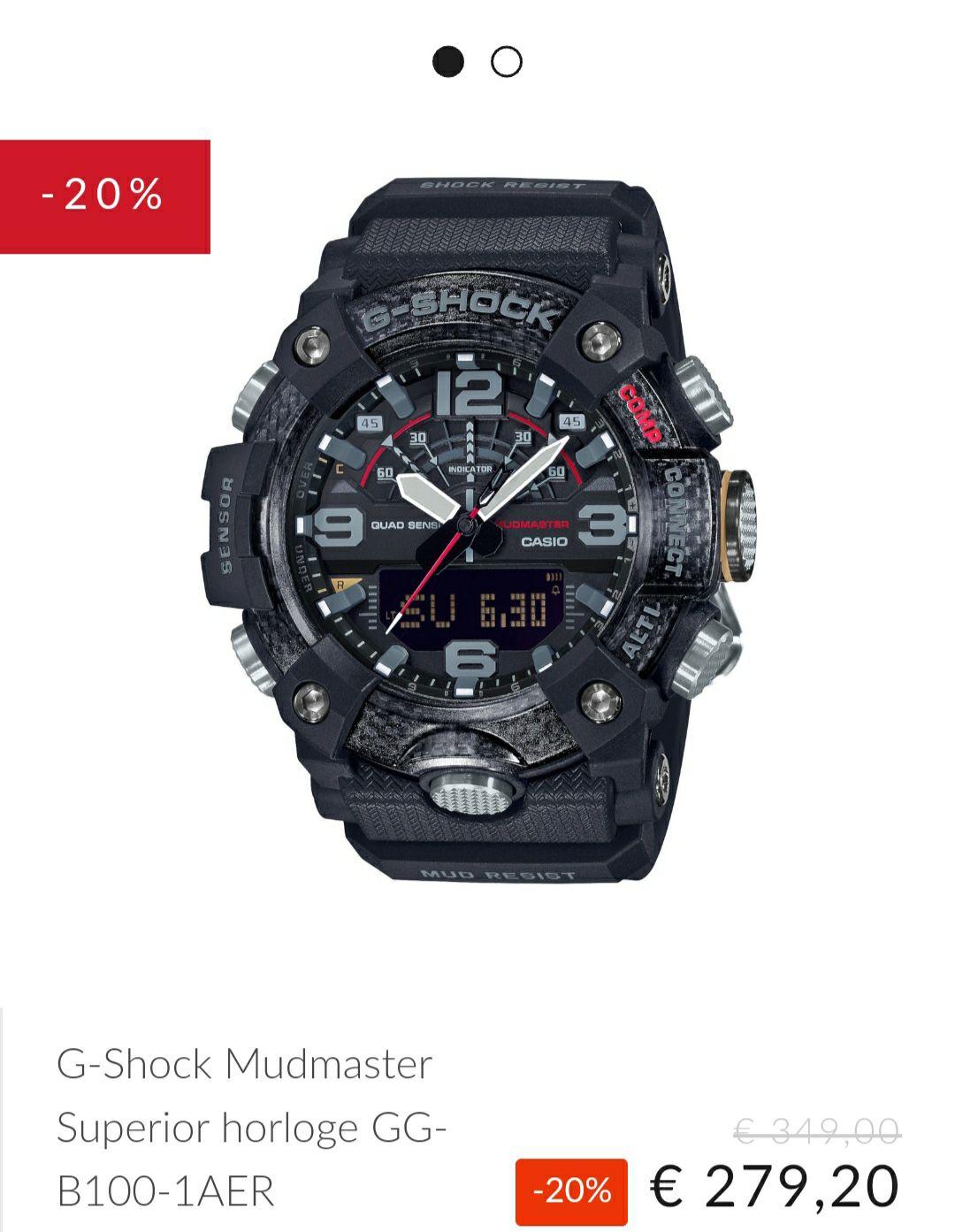 Op alle gshock horloges 20% korting