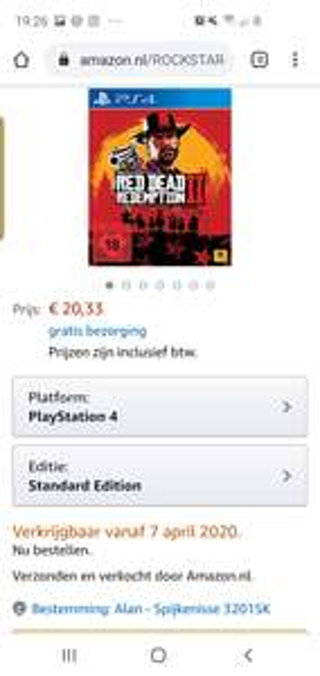 Red dead redemption 2 ps4 inclusief verzendkosten