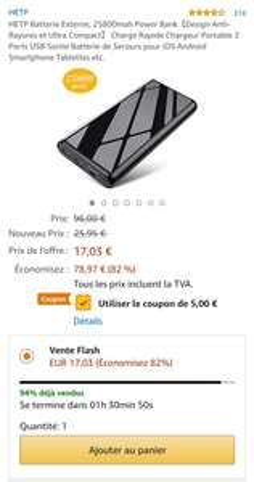 Powerbank HETP 25800mah €12,03 @ Amazon.fr