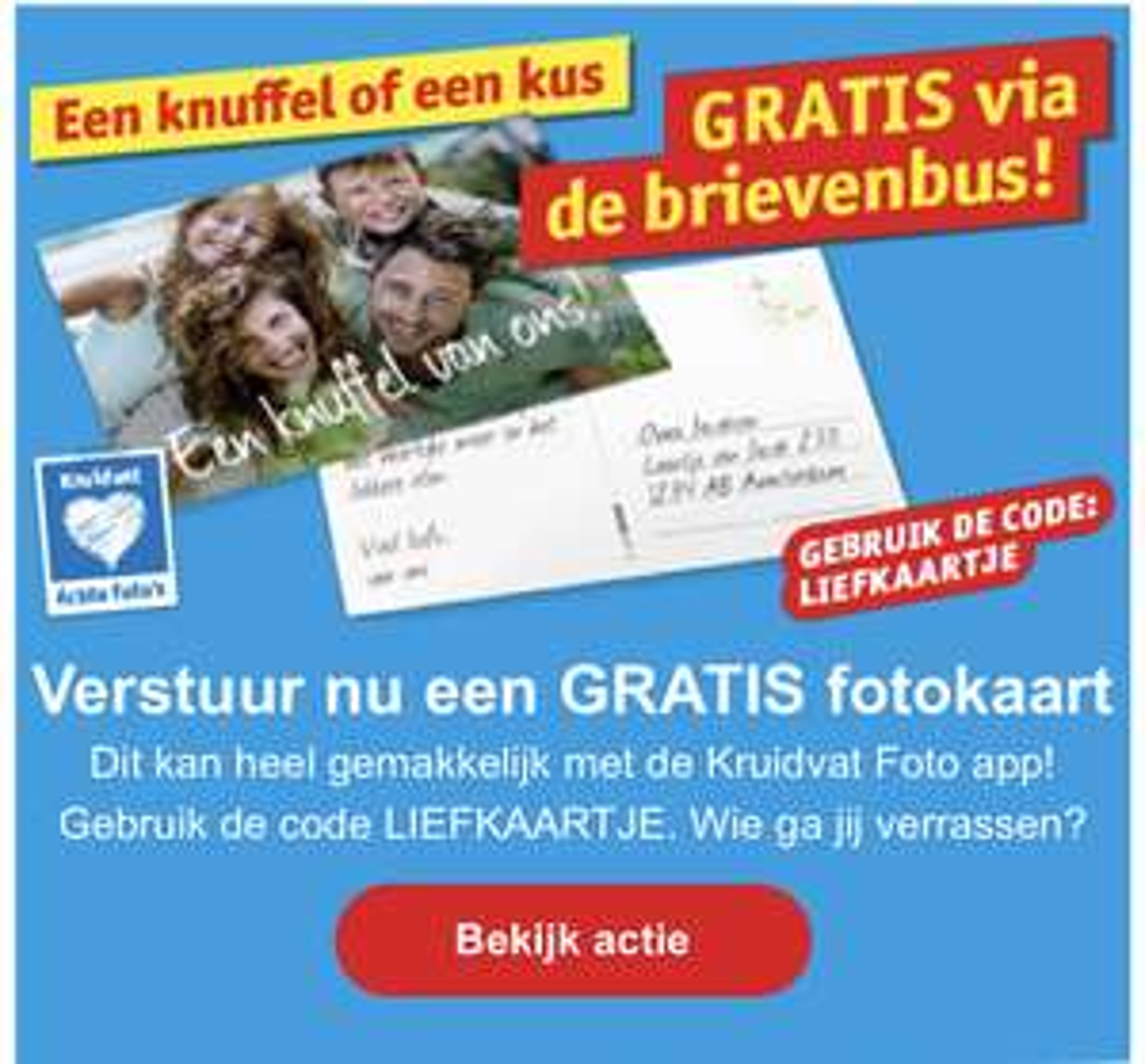 Gratis kaartje versturen via Kruidvat foto app