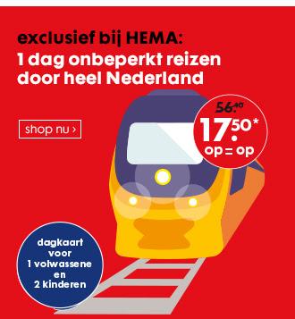 NS Dagkaart voor 1 volwassene en 2 kinderen - €17,50 @ HEMA