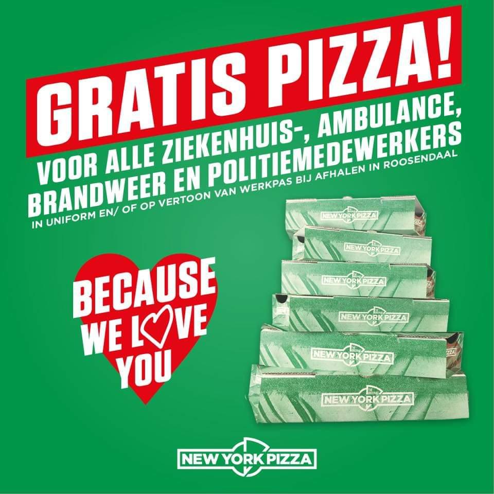 Gratis pizza voor iedere hulpverlener [lokaal Roosendaal]