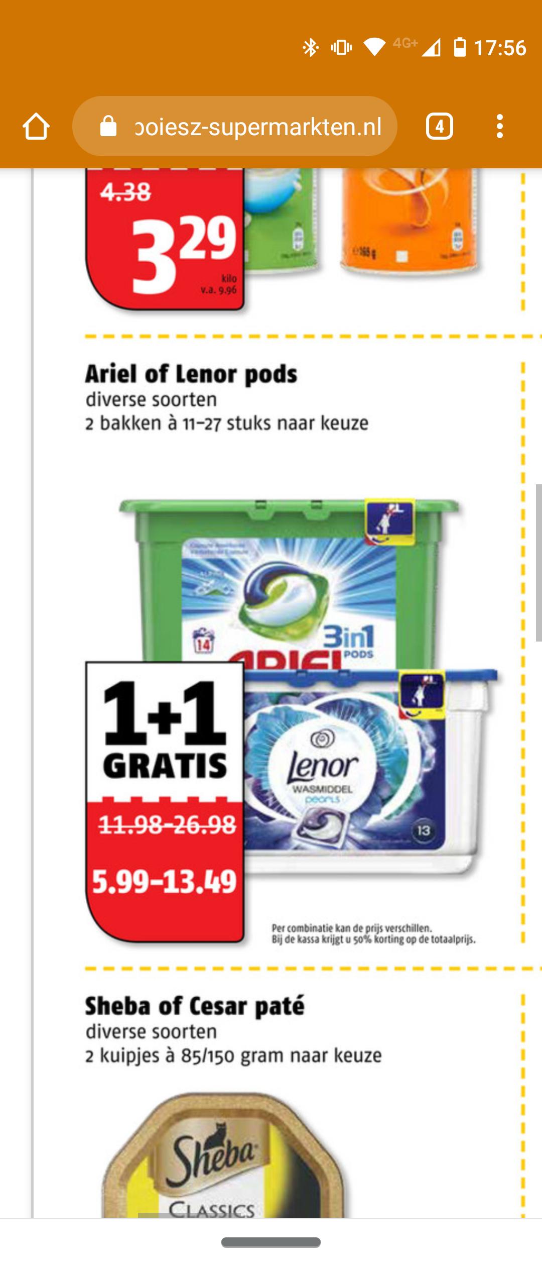 Ariel of Lenor Pods wasmiddel 1+1 gratis