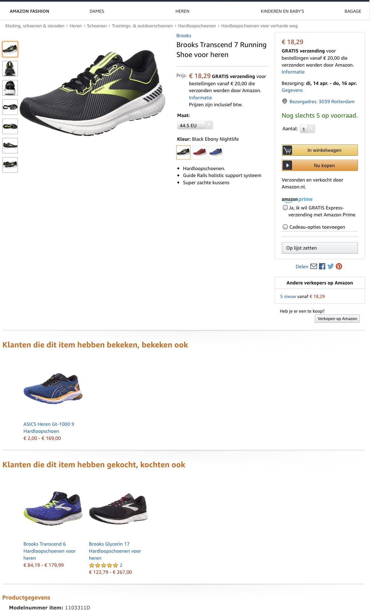 Brooks Transcend 7 Running Shoe voor heren