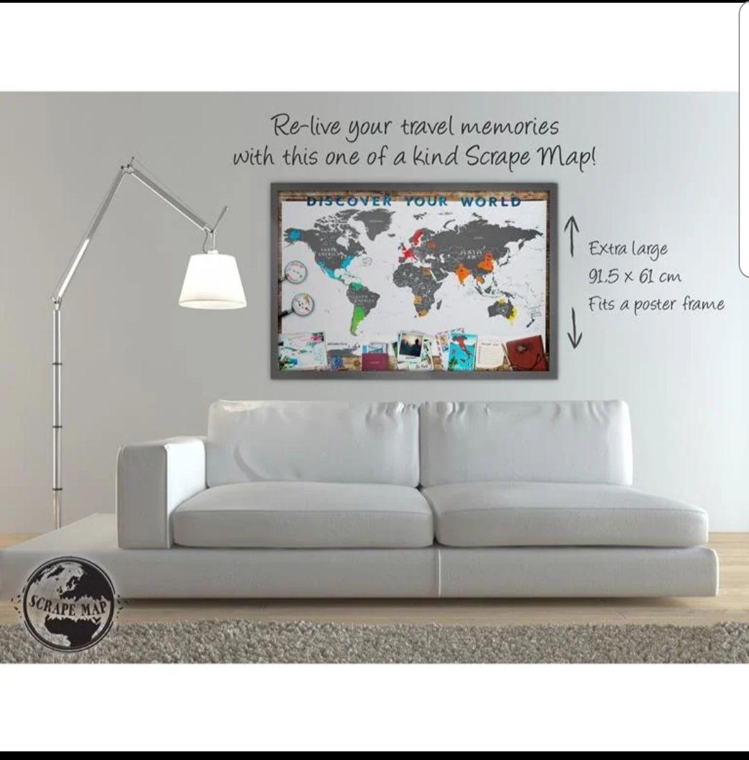 Scrape Map Wereldkaart XL Deluxe