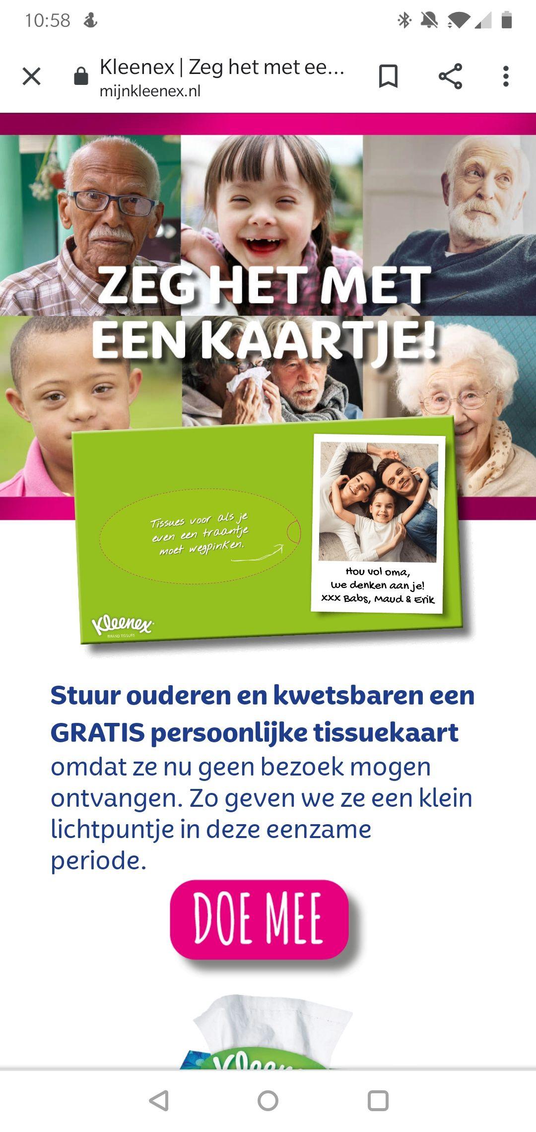 Stuur ouderen en kwetsbaren een gratis Kleenex tissuebox-kaartje!