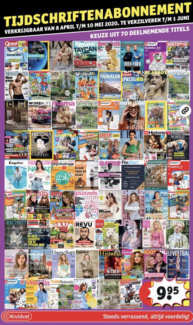 Tijdschriften abonnement van 4 of 8 nummers, keuze uit 70 titels @ Kruidvat