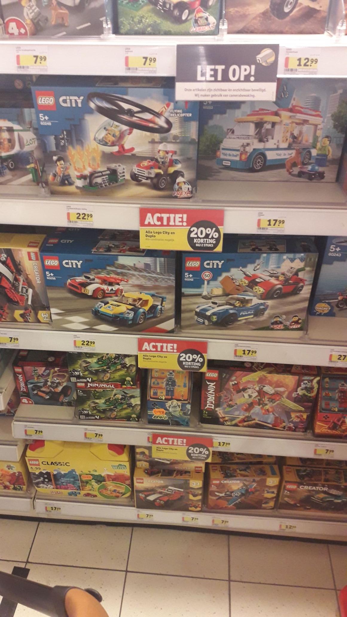20% korting bij 2 stuks Lego City of Duplo.