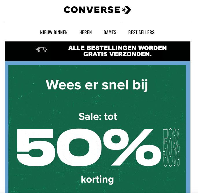 Converse, heel veel modellen met 50% korting!