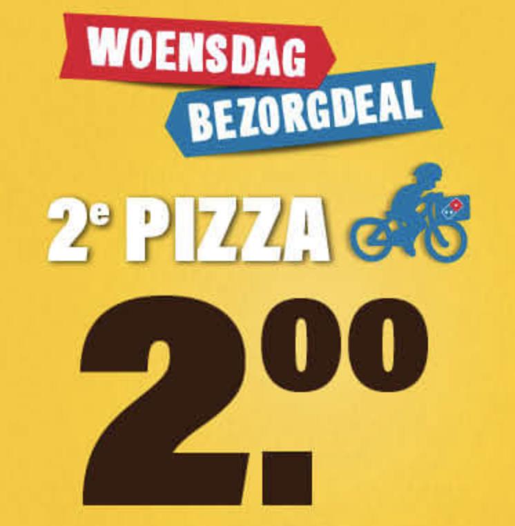 Elke woensdag elke 2e pizza €2 bij bezorgen @ Domino's