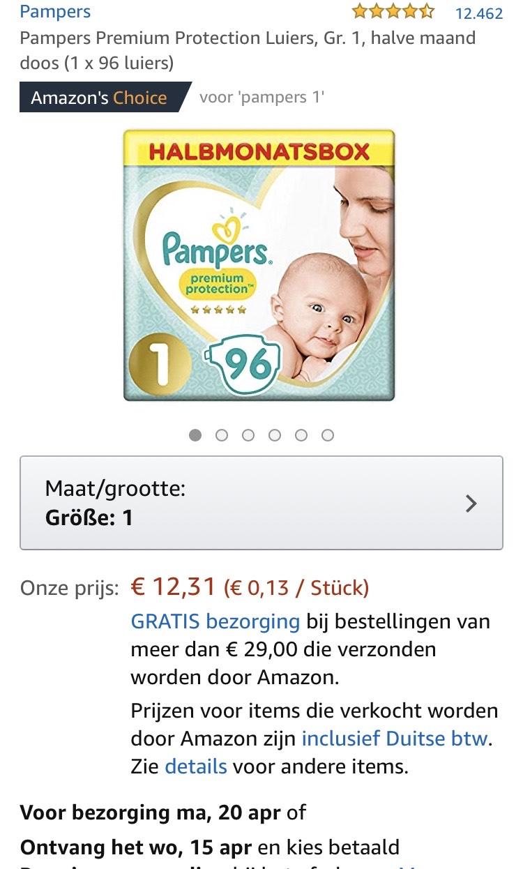 Pampers maat1 zeer goedkoop