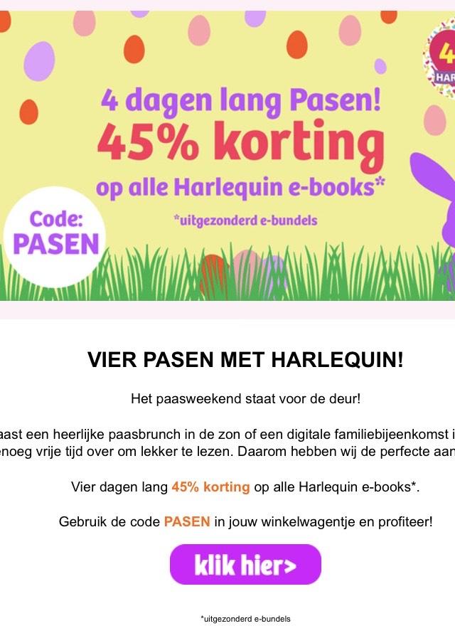 45% korting op alle Harlequin e-books