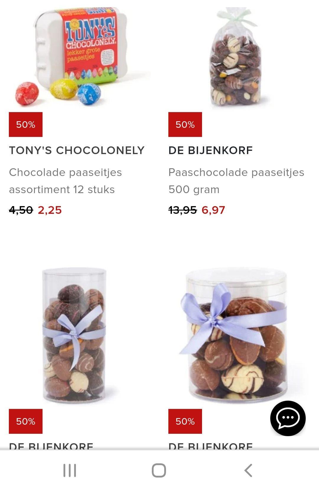 NU -70% Bijenkorf paas-chocola. Onder meer Tony's Chocolony en Lindt.