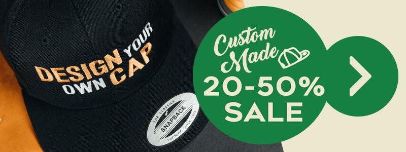 Hatstore, tot 50% korting ook op custom made petten