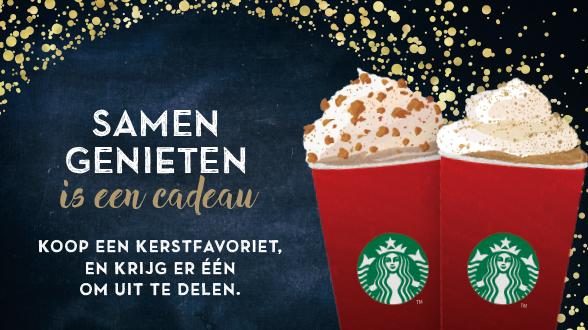 1+1 gratis op kerstfavorieten (tussen 14:00 en 17:00) @ Starbucks