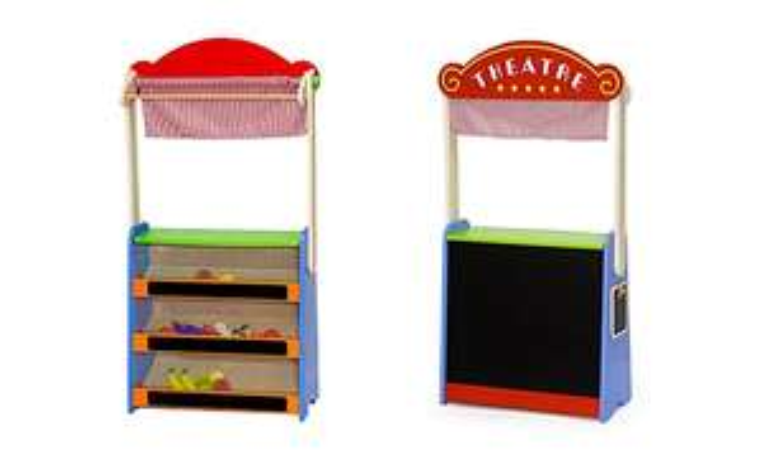 Viga toys houten Theater en kruidenierswinkel in 1 + accessoires voor €23,79 @ Groupon