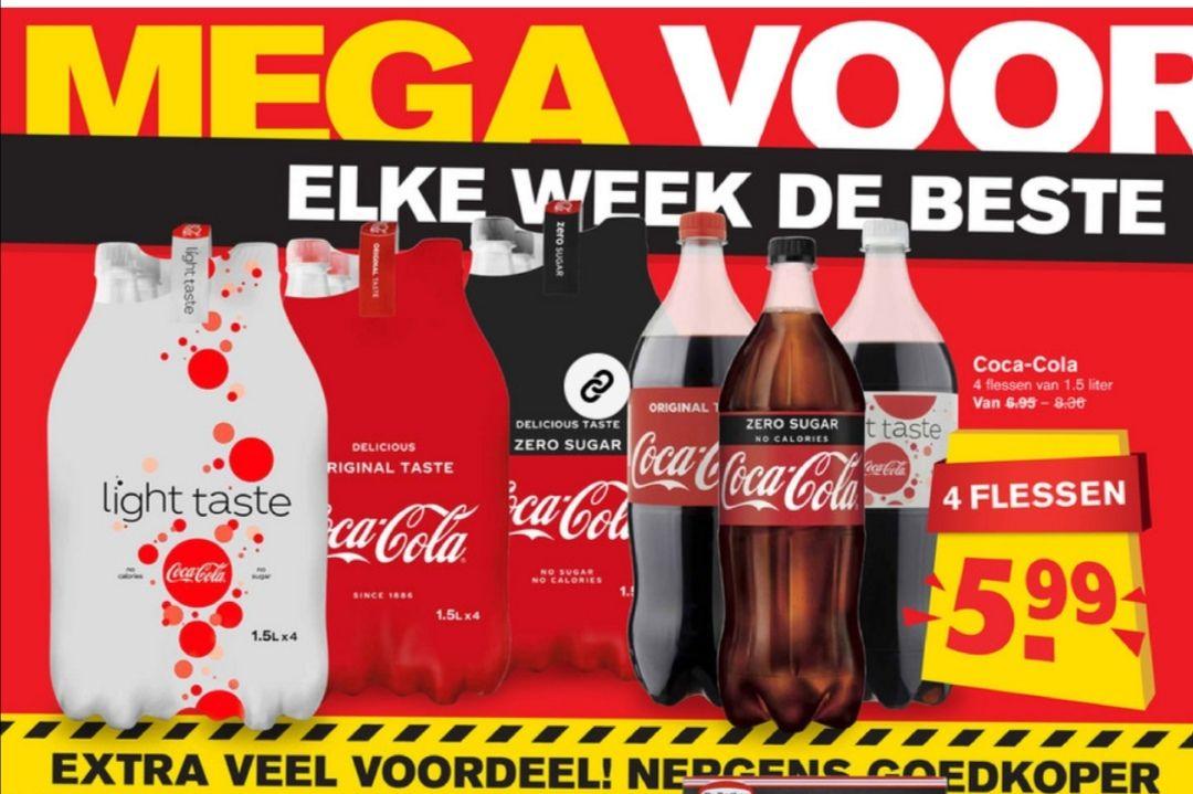 @Hoogvliet 4 flessen Coca Cola 1,5 liter voor 5,99