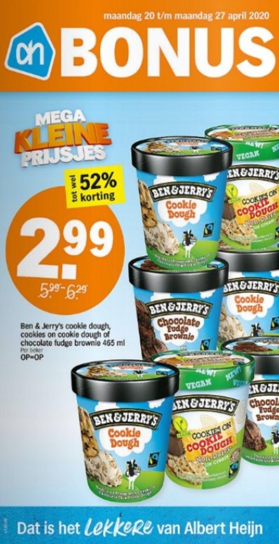Deze week bij AH, Ben & Jerry's voor €2,99 per beker 465 ml.