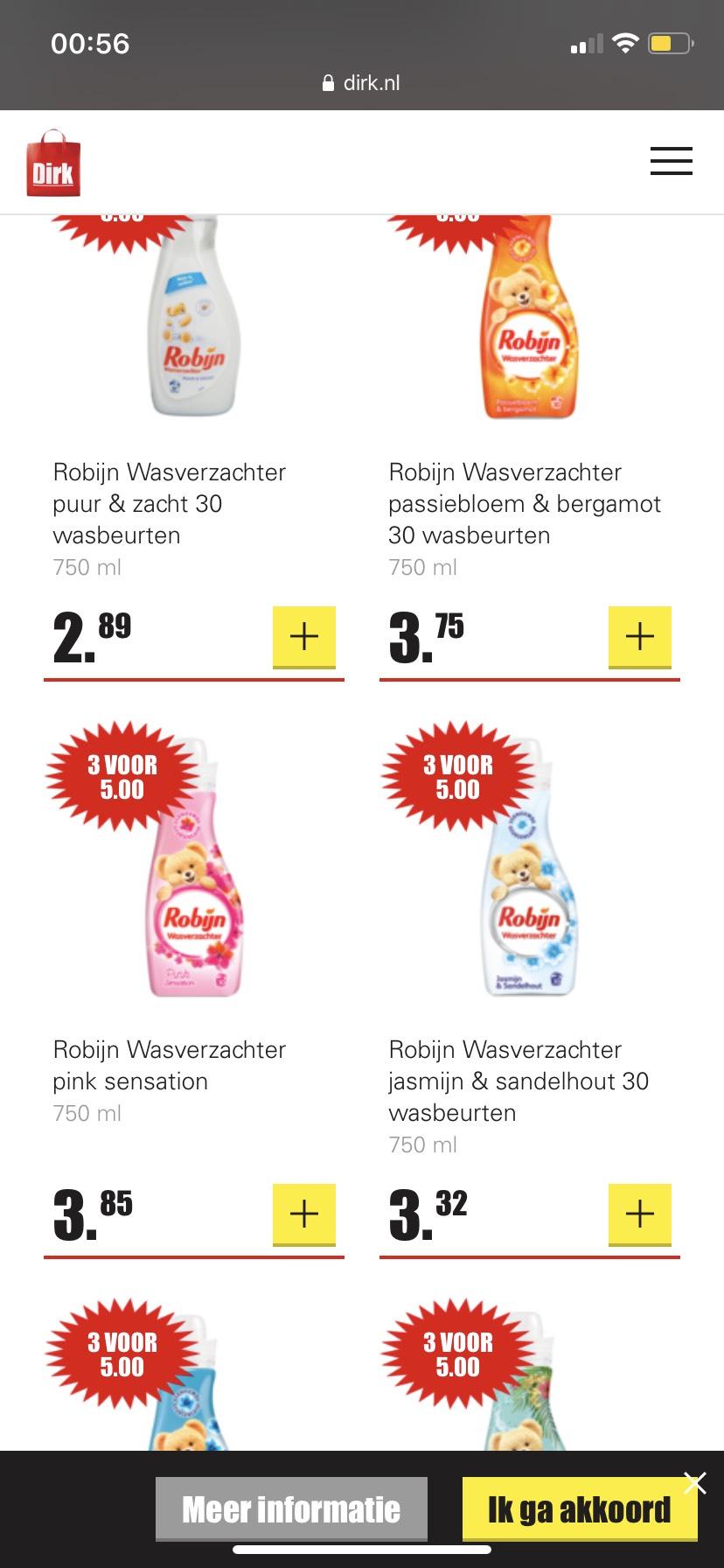 Robijn wasverzachter 3 stuks voor €5 bij Dirk