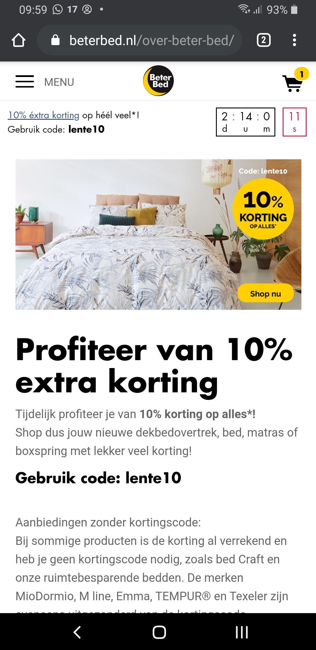 10% korting bij veel producten bij Beter Bed