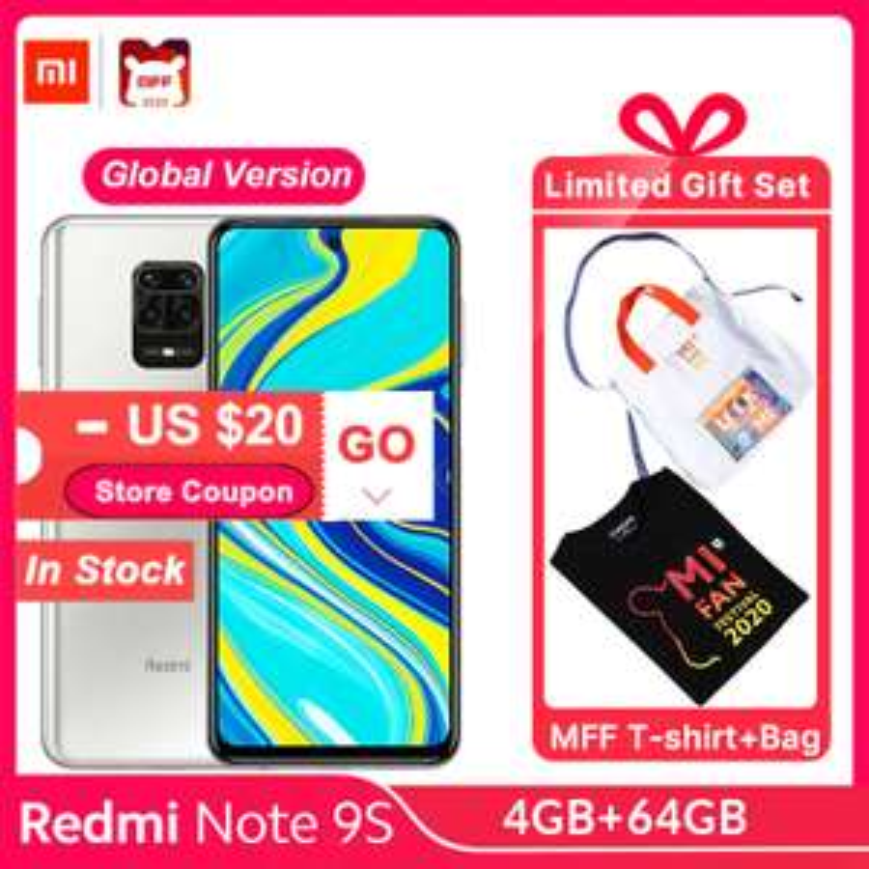 Xiaomi Redmi Note 9S 4GB / 64GB + gratis T-shirt of shopper @ AliExpress