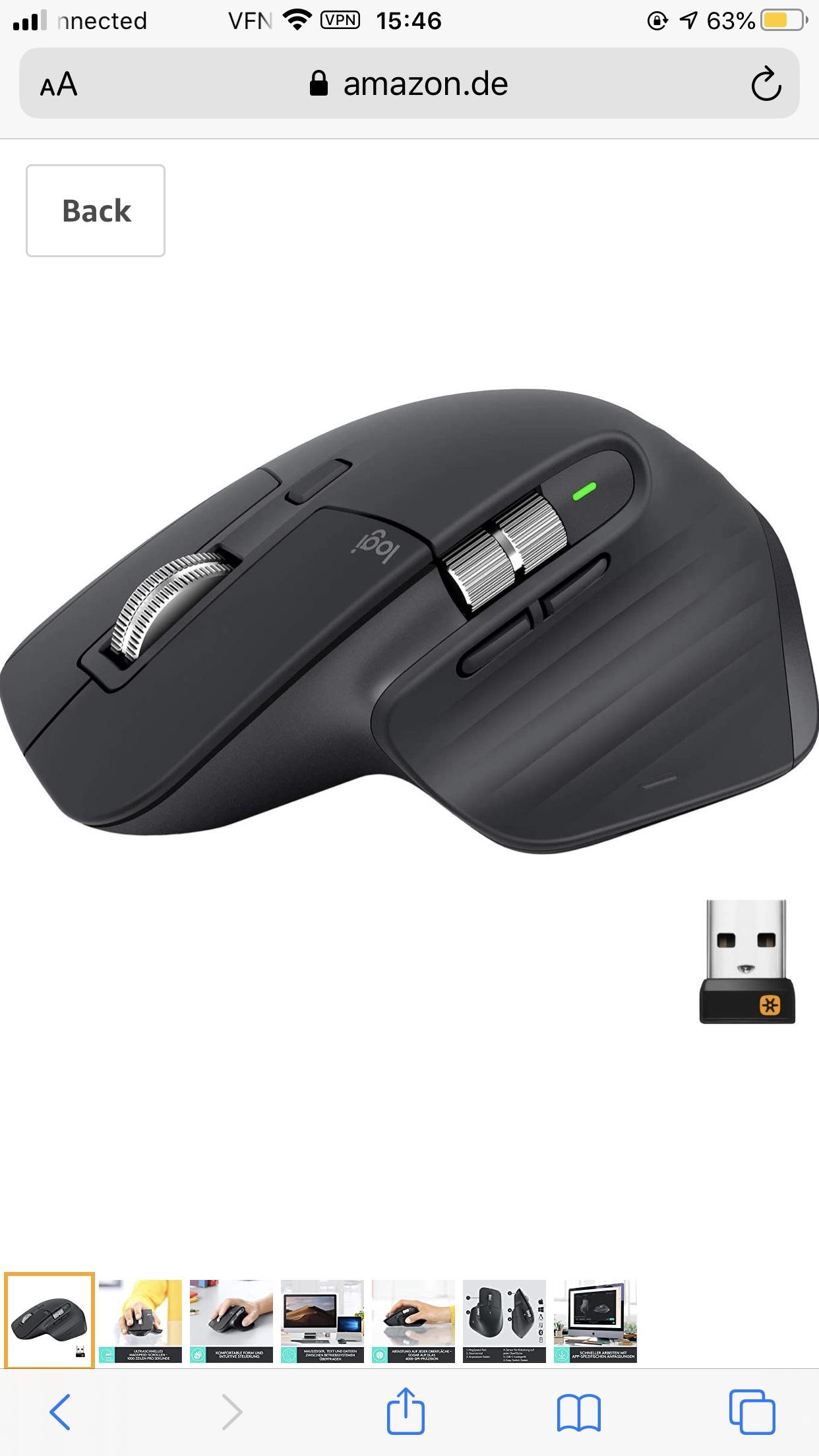 Logitech MX Master 3 muis (Zwart / Grafiet)