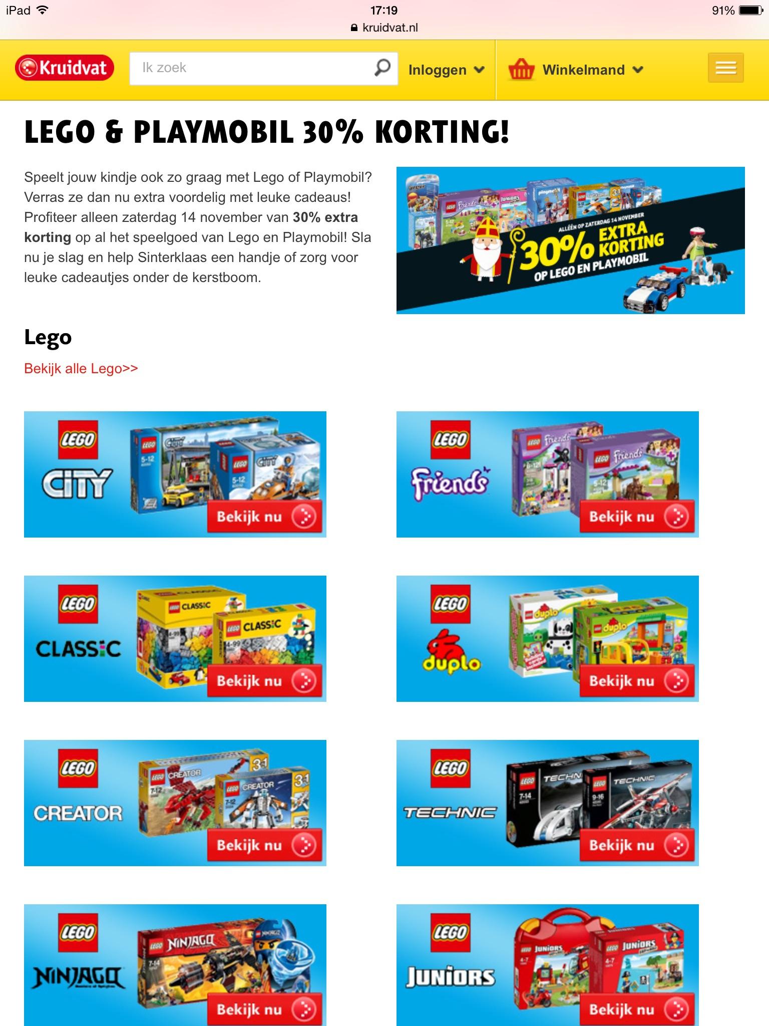 Bij het kruidvat zaterdag 14 november 30% korting op lego & playmobil