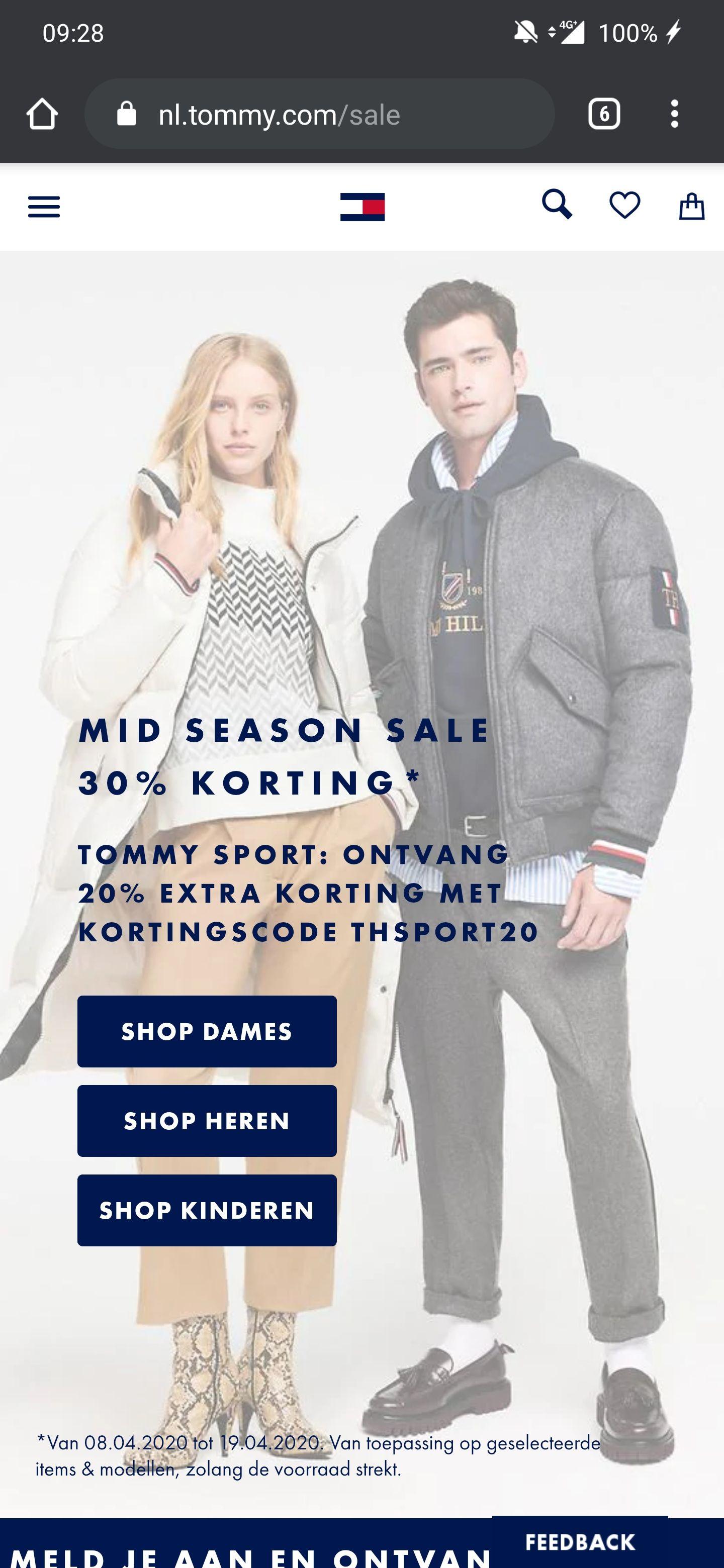 20% korting bovenop de sale bij Tommy Hilfiger Sport