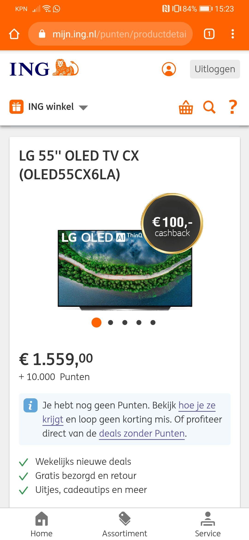 LG 55'' OLED TV CX (OLED55CX6LA) ing rentepunten winkel (10.000 punten) 100 euro cashback.
