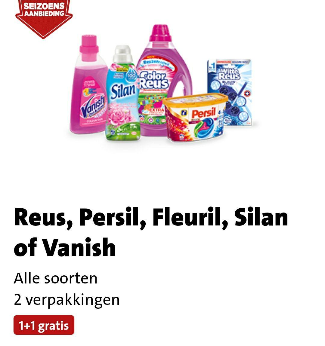 1+1 gratis op Reus, Persil, Fleuril, Silan of Vanish bij Jumbo