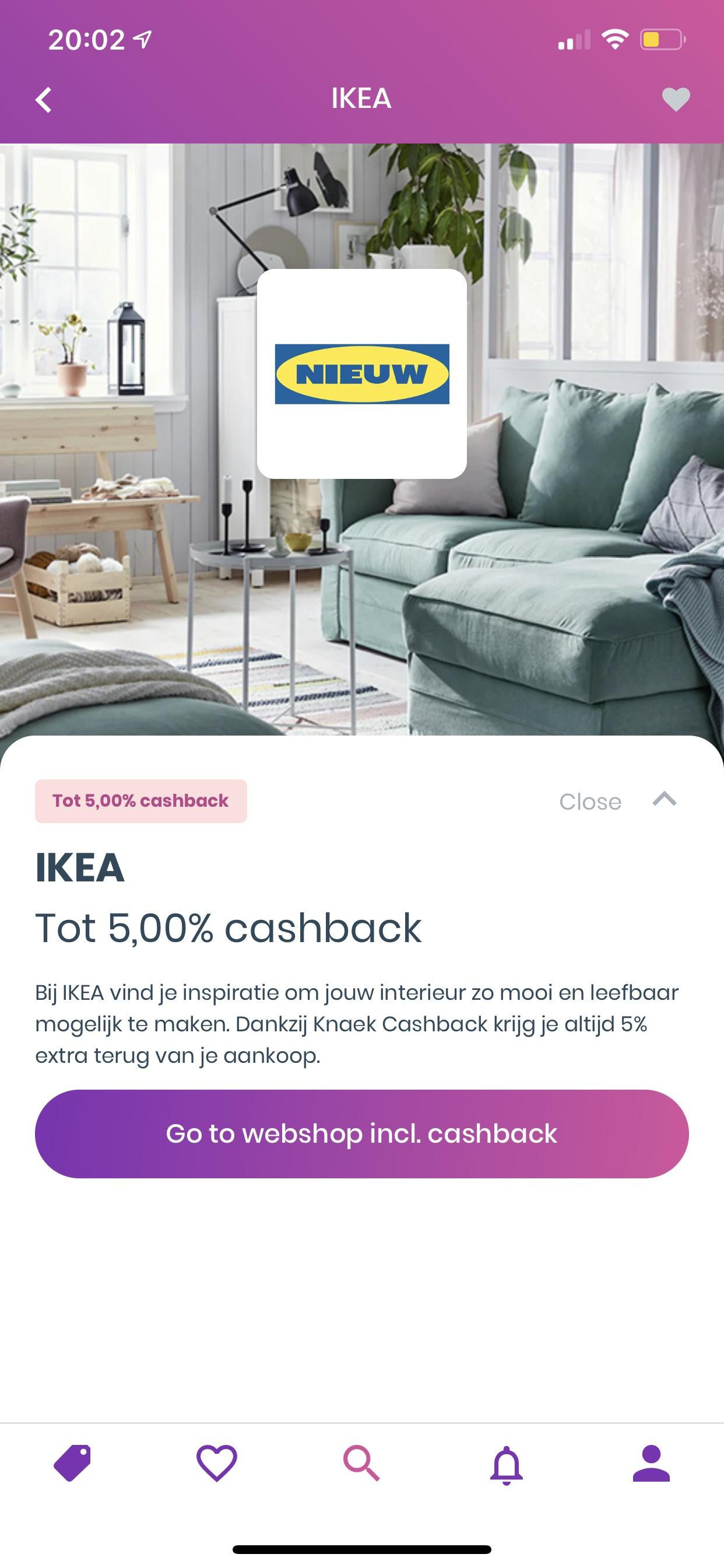 5% Cashback bij IKEA via Knaek Cashback